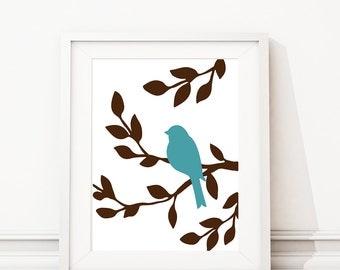 Bird Artwork - Bird Art Print - Nursery Bird Art - Bedroom Bird Art - Home Decor - Bathroom Bird -  Nursery Decor - Brown Turquoise (S-379)