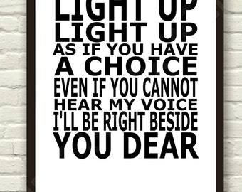 Snow Patrol - Run - White  Lyric Art Typography Print Poster A4 & A3