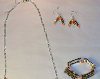 Silver and Coral Necklace, Bracelet, and Earrings