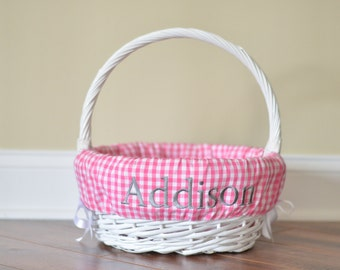 Easter Basket Liner / Custom Basket Liner / Gingham Easter Basket Liner - FREE personalization!
