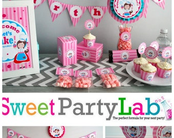 Little Chef Party Set, Baking Party, Girl Birthday , Diy Party Package, Full Party Decoration Kit, Instant Download -D019 HBLC1