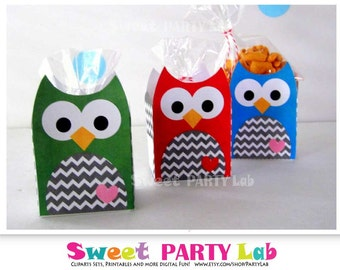 Owl Box, Printable Party Favor Box, Chevron Owl Box, Birthday Printable Party Favor Box, Instant Download -D080
