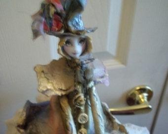 "Paper Peple' Original Sculpture by Lori Hlavsa: ""Top Hat Clown"""
