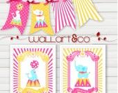 Print Art Digital Printable Wall Art Circus Pink Yellow Girl Animals Elephant Seal Nursery Art - GIFT: Coordinate circus banners