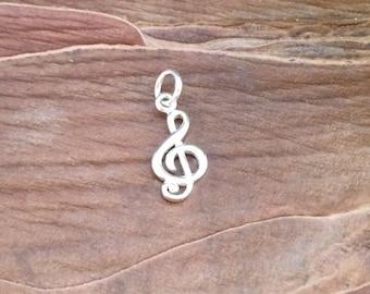 Treble Clef Charm, Music Symbol Charm, Music Charm, Music Lover, Sterling Silver Charm