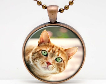 Curious Red Tabby Cat Photo Altered Art  Glass Pendant or Key Chain- 30 mm round- Chain Included- Made to Order