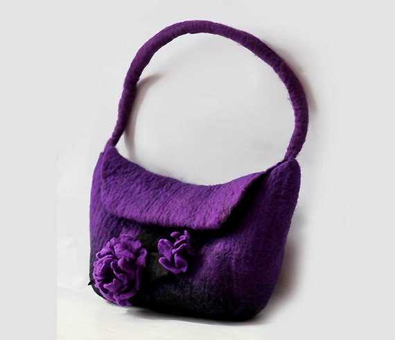 Felted Flower Bag Felt Handbag Purple Violet Bag Black Boho, eco ...