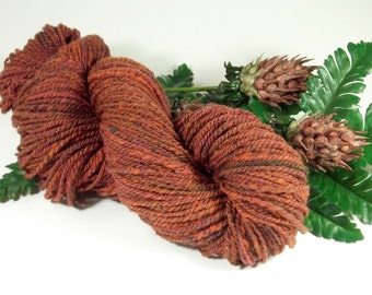 Chestnut Thistle Handspun Worsted Weight Wool Yarn