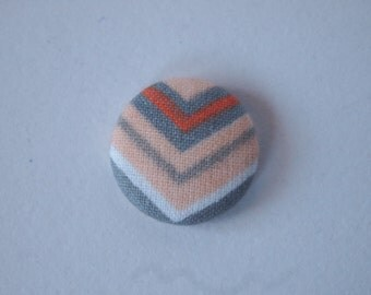 Chevron orange and gray  fabric covered buttons (size 60, 40, 32, 20, or 18)
