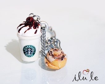 Pendant Starbucks coffee and a bun, ice cream Starbucks decoration Starbucks coffee pot pendant, suspension breakfast, miniature jewelry,