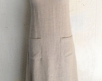 "1980s ""Hettie"" Tan Linen Strappy Maxi Dress"