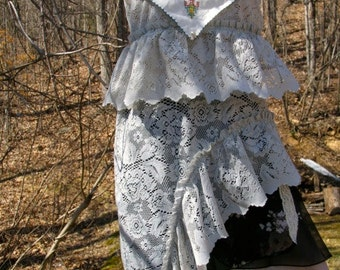 OOAK hand dyed antique embroidered asymmetrical lace top Romance/ Up Cycled/ Reconstructed/ Spring/ Boho/ Shabby Chic/ Farm/ Prairie/ Hippie