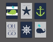 50% OFF SALE.Nautical Nursery Whale nursery art print, Baby shower gift Lime Navy blue, nautical decor set of 6, starfish 5x7 PRINTABLES