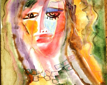 "Mixed media on paper ""Spring face""girl, face, figurative, portrait, yellow, tender, spring, sunny, handmade, one-of-kind,"