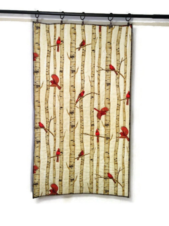 Cardinal Bird Wall Hanging Quilted Tapestry