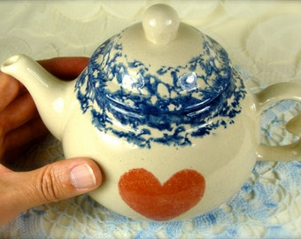 Vintage Ceramic Stoneware Mini Teapot with Red Heart by Buttermilk Acres Stoneware Inc