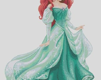 Counted Cross Stitch Pattern, Ariel in glittery gown, Instant Download, PDF Pattern, Hand Designed by Crossfandomxstitch
