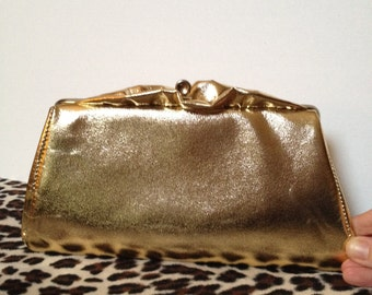 Vintage 60's Gold Ruffle Clutch