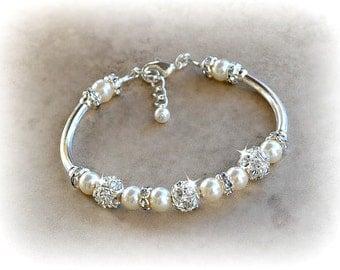 Pearl and Crystal  Bridal Bangle Bracelet