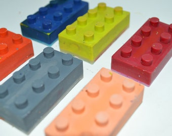 Set of 6 - Lego Brick Crayons - Lego Crayons - Recycled Crayons - Lego - Party Favor - Kids - Coloring - Easter Basket - Stocking Stuffer