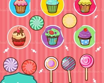 Sweets digital clipart, digital images, printables, patterns, cards, backgrounds [SC-005]
