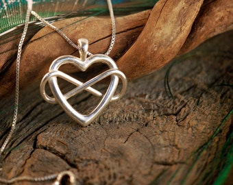 Infinite Love ~ Heart and Lemniscate ~ Polyamory ~ Sterling Silver Pendant