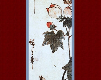 "Japanese old art. ""Flowers and Birds""(7). Asian art. Fine art.  Old Japanese painting."