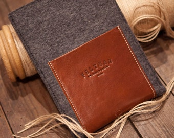 iPad Mini Case Grey Felt & Italian Leather