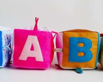 Personalized Baby Taggie Toy - Sensory Taggie Block