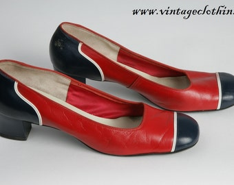 Rare Larger size 1965 - 1976 Mod Square Toed Shoes US Size 10 , 1960s Shoes, Vintage Shoes, Mod Shoes, Red Shoes, 1970s Shoes, Size 10 Shoes