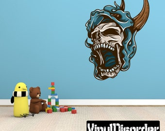 Skull Wall Decal - Wall Fabric - Vinyl Decal - Removable and Reusable - SkullUScolor039ET