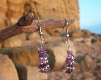 Amethyst semi precious chip stack earrings with silver beads