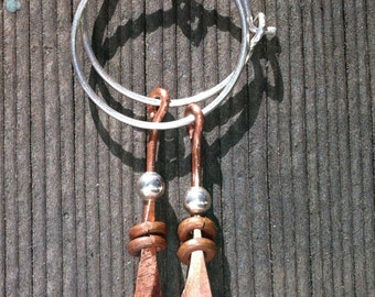 Sterling Silver Hoops and beads with copper beads and wire