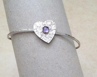 Heart bangle bracelet , Sterling Silver bracelet  , Amethyst bracelet ,  love gift , February Birthstone