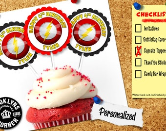 Flash Party - (12) Personalized Cupcake Toppers