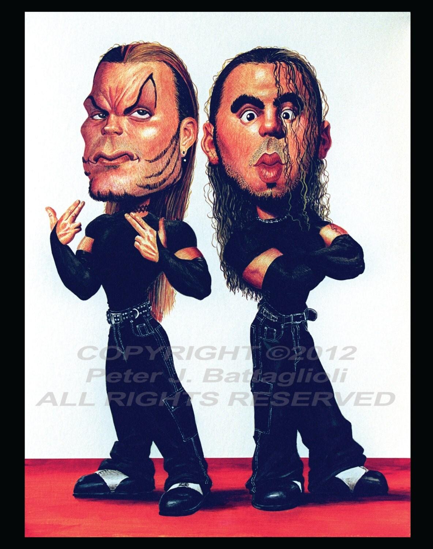 Uncategorized Jeff Hardy Kids hardy boyz matt and jeff poster caricature art print