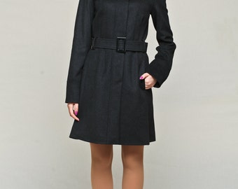Womens wool and cashmere coat with funnel neck / wool coat / winter coat / fitted coat / black wool coat