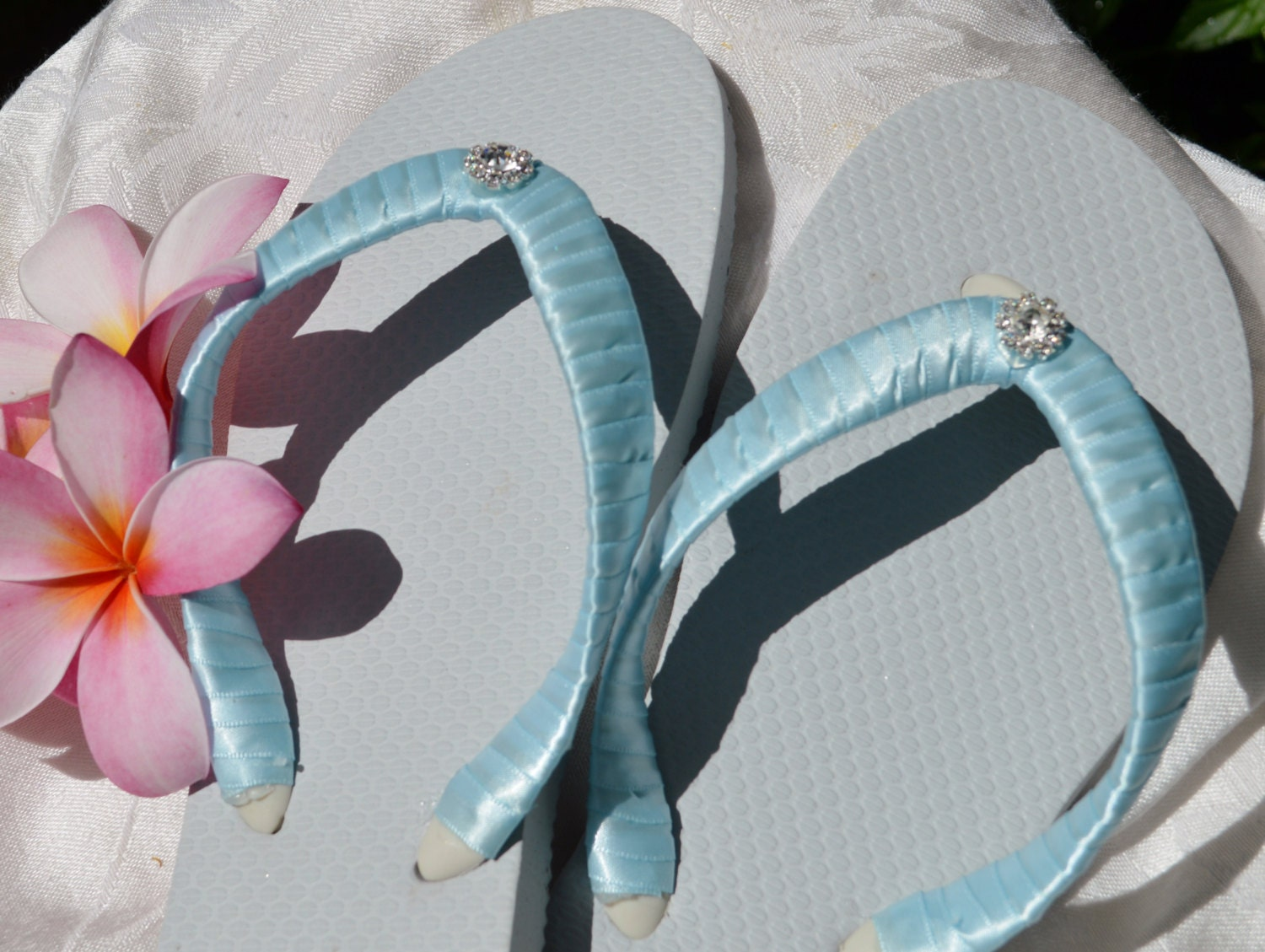 Bridal Party Wedding Flip Flops BLUE White Flats With