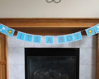 Zebra Lion It's A Boy Banner - Chevron Baby Shower Banner