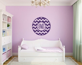 Chevron Wall Decal Monogram Wall Decal Girl Bedroom Wall Decals Teen Decals Baby Girl Nursery Wall Decal Dorm Room Decal