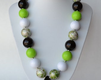 Lime & Black CHUNKY necklace with acrylic beads, tiger tail stringing, and metal toggle clasp