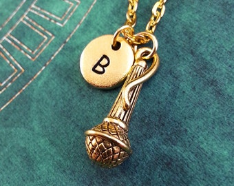 Microphone Necklace, Gold Mic Charm, Hand Stamped Necklace, Engraved Necklace, Initial Necklace, Singer Keychain Singing Necklace