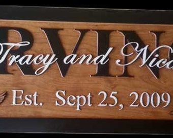 Custom Carved Wooden Signs Custom Family Name Signs Last Name Established Sign 5th Anniversary Gift Custom Engraved Sign Personalized IR1