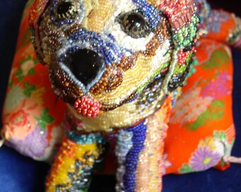 Lil' Pup ~ Completely hand beaded cloth puppy dog sculpture