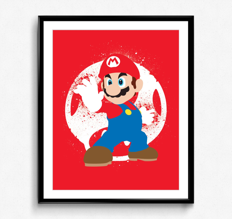 Super Smash Bros Mario Spray Art Poster Video Game Print