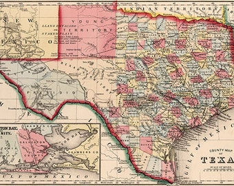 Texas map (19th century), scanned version of an old original map of the Texas state, instant download in high resolution jpg -- item no 125