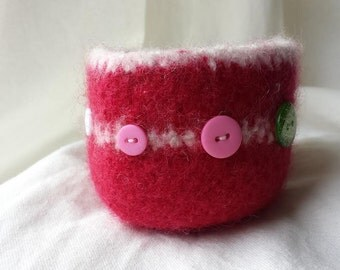 Red and White Felted Bowl with Buttons