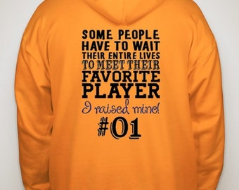 Football Mom Hoodie Favorite Player - I raised Mine Football Mom Hooded Sweatshirt