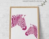 Printable Art, Pink Zebra Printable, Nursery Decor, Modern Art, Home Decor Instant Download