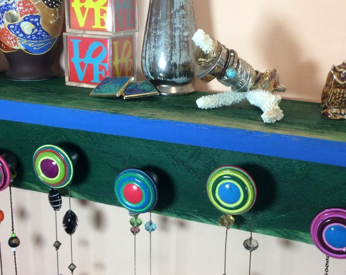 Pallet wood floating shelves /accent shelving /wall organizer /reclaimed wood decor wall hanging shelf green 5 colorful hand-painted knobs